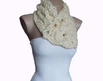 Knit Milk White Cowl Neckwarmer Scarf, Winter Accessories, Gift Fall Fashion
