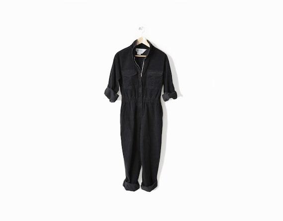 Vintage Diane Von Furstenberg Black Corduroy Jumpsuit - m/l
