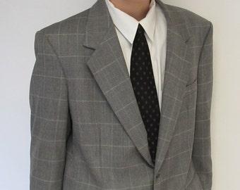 Men's Gray Windowpane Check Blazer Sports Coat Vintage Grey Suit Jacket 42 44