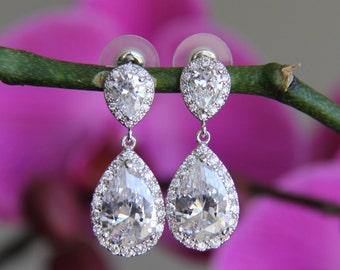Bridal, wedding tear drop cubic zirconia CZ jewelry, wedding jewelry, bridal jewelry, wedding necklace, wedding earrings, bridesmaid jewelry