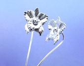 Orchid flower earrings sterling silver earrings jewelry dangle earrings cute small stud earrings long stem earrings unique Threader  E-131