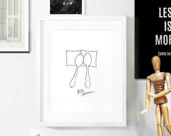 Minimalist Monochrome Poster / Black and White Home / Bedroom Print / Wedding Poster / Let's Spoon / Modern Home / Anniversary Gift