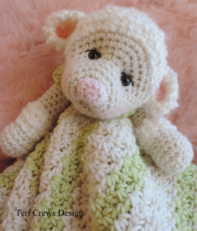 Free Crochet Pattern Huggy Blanket : Crochet Pattern Lamb Huggy Blanket Lovey by Teri Crews instant
