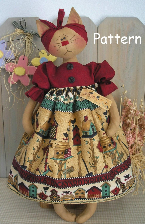 pdf e pattern 12 folk cat primitive raggedy kitty cloth doll
