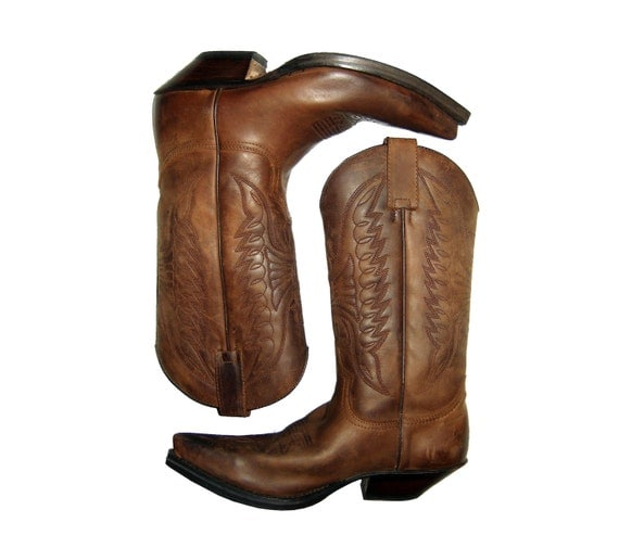 vintage sendra brown all leather boots size mens 8 usa western