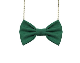 Hunter Green - Bow Tie Necklace, PreTied BowTie for Women and Girls