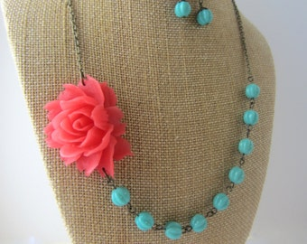 Bridesmaid Jewelry Set of 4 Flower Necklace Coral Wedding Coral Bridesmaid Jewelry Sets Coral and Turquoise Jewelry Rustic Wedding Jewelry