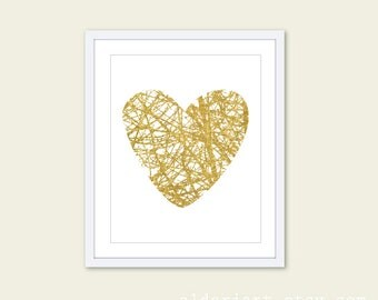 Gold Branches Heart Art Print Modern Wall Art Home Decor Nature Love
