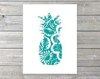 Pineapple Art Print - Pineapple Wall Art - Pineapple Artwork - Tropical Fruit Art - Teal Turquoise Blue and White Pineapple