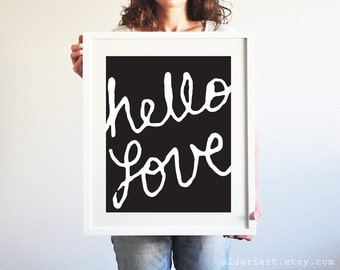 Hello Love Art Print - Black and White Typography Wall Art - Modern Home Decor