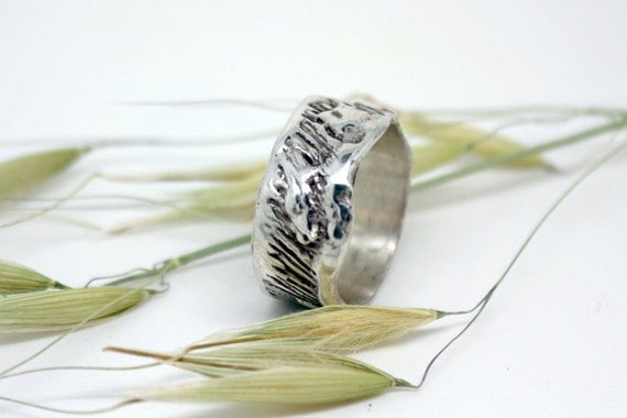 Wide silver wedding band, abstract ring, OOAK ring, unique promise or commitment ring