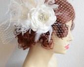 MADE TO ORDER,Birdcage veil and headpiece,Flower fascinator,Pearls & rhinestones,Swarovski rhinestone veil,side pouf veil,Feathers,Glam