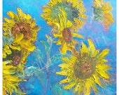 Sunflower painting, flower painting, flower art, impressionist art, palette knife art, floral wall art, home decor, Etsy art, Jan Matson