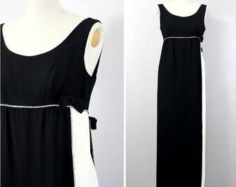 vintage 1960s gown MOD black & white empire fit dress