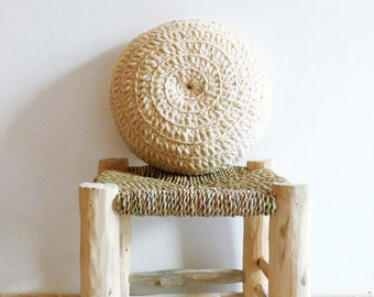Round Pillow Crochet Wool - Natural undyed