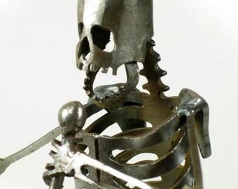 Zombie Skeleton Lead Singer Steel Sculpture