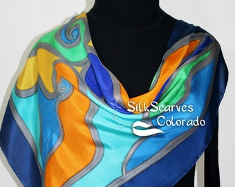 Silk Scarf Hand Painted. Blue, Green, Orange Silk Scarf. Handmade Silk Scarf HAPPY MEMORIES. Birthday, Mother Gift. Offered in Two SIZES