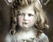 Louisa-Victorian Little Girl-French Postcard-Digital Image Download