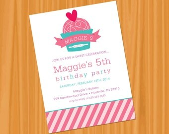 Printable or Emailable Bakery Cupcake Birthday Party Invitation