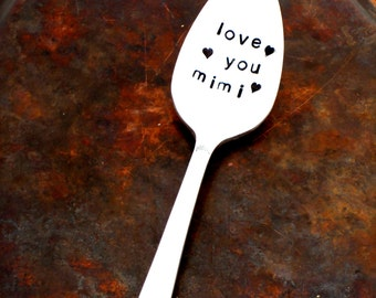 Love You Mimi. Spoon. Teaspoon. The ORIGINAL Hand Stamped Vintage Coffee Spoons by Sycamore Hill. Gift for Grandmother. Nana. Grandma. Nonni