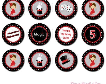 PRINTABLE Girl Magic Show Party Circles (Personalized) #550