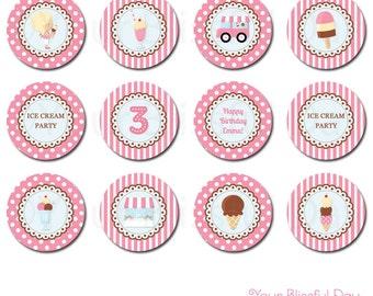 PRINTABLE Girl Ice Cream Party Circles #534
