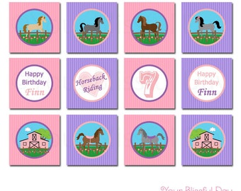 PRINTABLE Girl Equestrian Party Circles (Personalized) #527