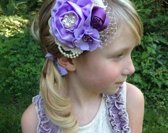Lavender flower clip, flower girl clip, vintage clip, ivory flower clip, ready to ship