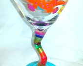 "Martini Glass ""Orange Gecko"" 9.25 oz. MG-0003 Special Order for 4 Martinis and 1 Tumbler"