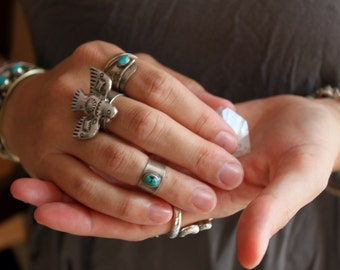 Thunderbird concho cocktail adustable ring size 6-8 silver  plated Native Bohemian Gypsy Navajo Free people Southwestern cowgirl concho
