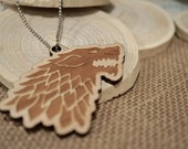 A Game Of Thrones Stark Dire Wolf Wooden Acrylic Laser Cut Necklace w/Chain