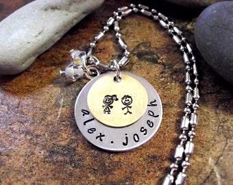 Personalized Jewelry, Twins Jewelry, New Baby Necklace, Personalized Mom Necklace, Hand Stamped Jewelry, Birth Jewelry