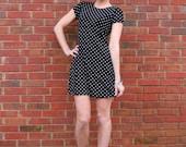 Womens Vintage Black Dress with White Polka Dots