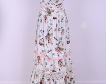 70's Strapless Floral  Maxi Summer Wedding Party May Day Festival Young Edwardian Label