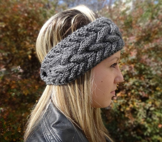 Knitted Headband With Button Pattern : Cable Knit Headband Winter Headband Womens Grey by ANINAhandmade