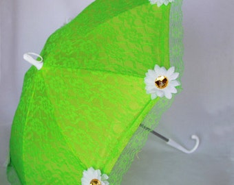 Sun Parasol - Lace Umbrella - Girls Lime Green Sun Umbrella with White Daisy - Style 102