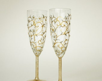 Wedding Glasses, HAND PAINTED, White Gold Floral Design, Pearls and Crystals, Toasting Glasses, Champagne Glasses, set of 2
