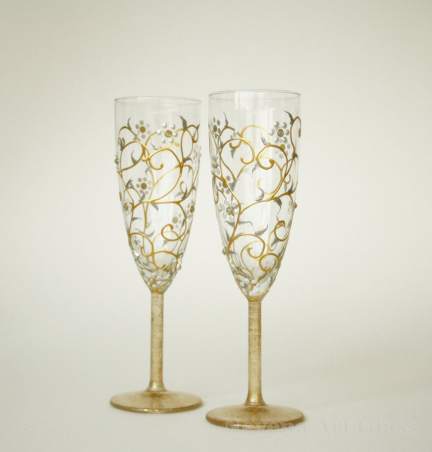Wedding Glasses HAND PAINTED White Gold Floral Design