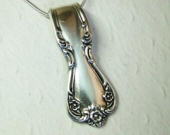 Spoon Necklace, Spoon Pendant, Silverware Jewelry, 'Daybreak' 1952