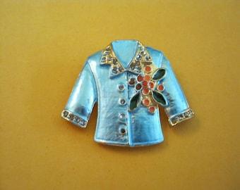 blue metal jacket brooch, orange flower corsage, blue metal floral brooch pin, mothers day, Easter, wedding bridal, unique brooch pin