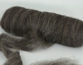 Home Grown Wensleydale Roving Spinning and Felting Fiber Black Silver 8oz