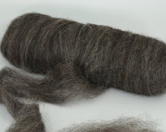 Home Grown Wensleydale Roving Spinning and Felting Fiber Black Silver 4oz