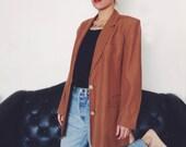Vintage Oversized Blazer - brown - 90's - 80's - Ann Taylor - So Annie Hall - linen - big - shoulder pads