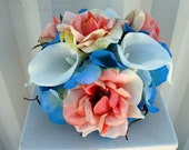 Wedding cake topper 5 piece set Coral turquoise cake flowers