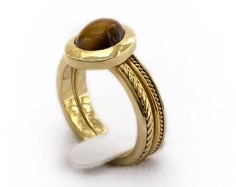 Gold wedding band set - Matching gold engagement ring, a thin band ring set - solitaire gold engagement Tiger Eye brown stone, Cadi jewelry