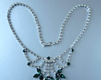 Czech Necklace 60's Clear and Emerald Green Rhinestone Mad Men Princess Style Necklace