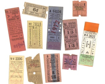 10 LONDON and UK Assorted vintage colored TICKETS - Paper supplies for collage, assemblage, scrapbook projects