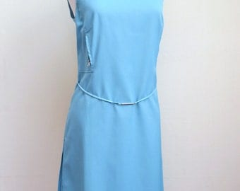 1960s styled Sky blue shift dress with zip detal, Philosophy di Alberta Ferretti label - M