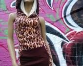Brown Orange Fleece Leopard Hooded Dress With Brown jersey Lining Mini Dress Racer Back Bodycon Slinky Cute Ears