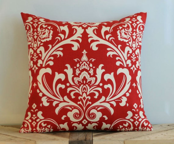 Outdoor Red Damask Throw Pillow Cover